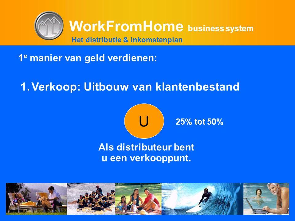 WorkFromHome business system Als distributeur bent u een verkooppunt. U 1.Verkoop: Uitbouw van klantenbestand 25% tot 50% Het distributie & inkomstenp