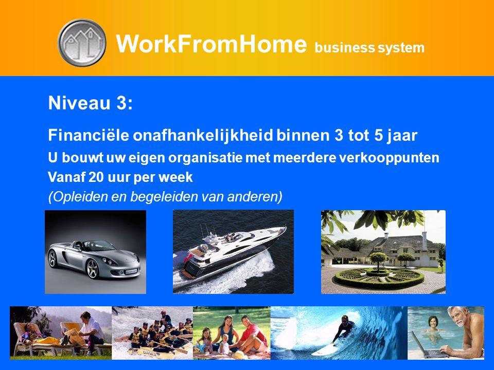 WorkFromHome business system Niveau 3: Financiële onafhankelijkheid binnen 3 tot 5 jaar U bouwt uw eigen organisatie met meerdere verkooppunten Vanaf 20 uur per week (Opleiden en begeleiden van anderen)