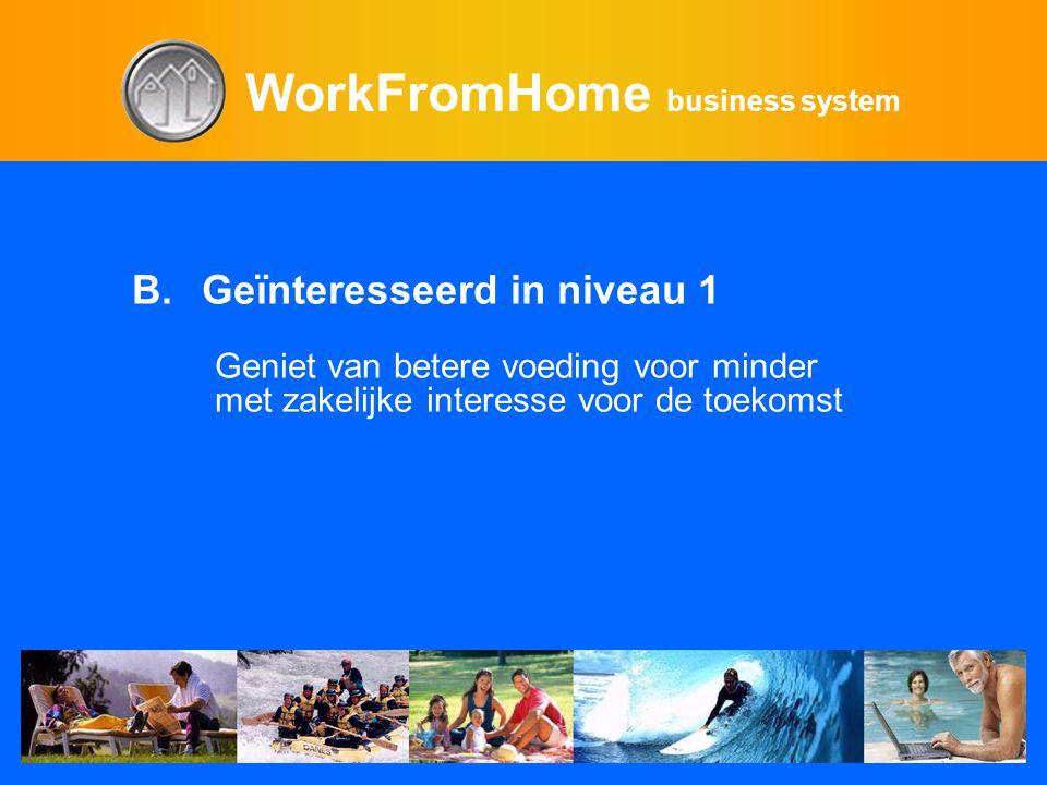 WorkFromHome business system B.Geïnteresseerd in niveau 1 Geniet van betere voeding voor minder met zakelijke interesse voor de toekomst