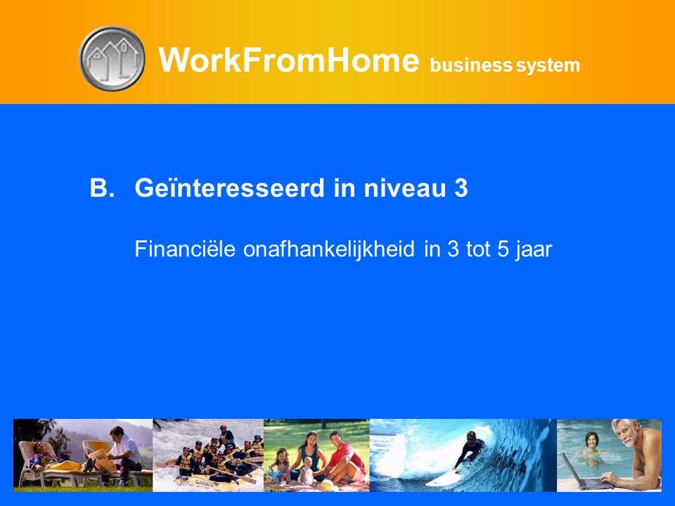 WorkFromHome business system B.Geïnteresseerd in niveau 3 Financiële onafhankelijkheid in 3 tot 5 jaar