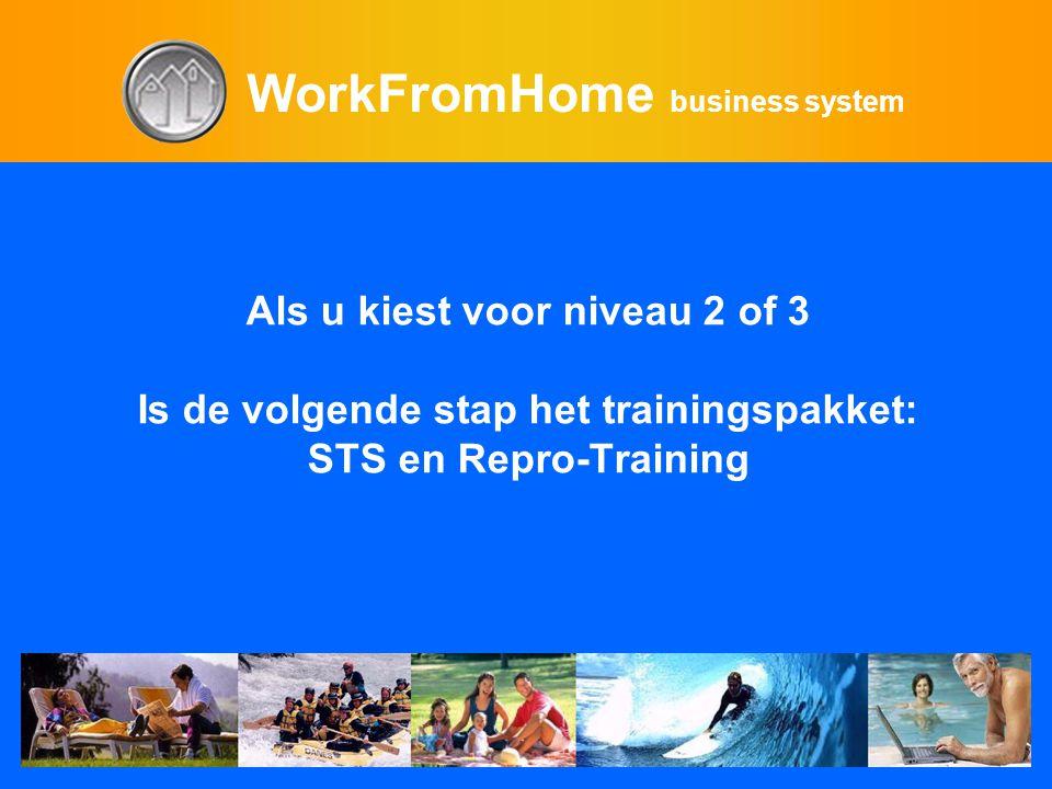 WorkFromHome business system Als u kiest voor niveau 2 of 3 Is de volgende stap het trainingspakket: STS en Repro-Training