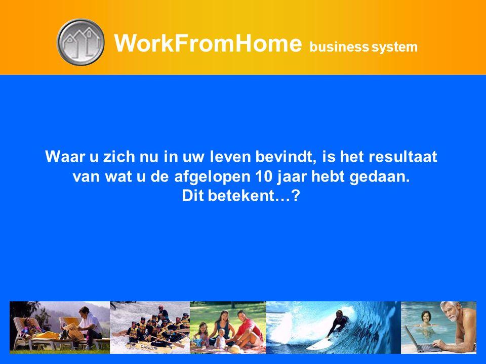 WorkFromHome business system Waar u zich nu in uw leven bevindt, is het resultaat van wat u de afgelopen 10 jaar hebt gedaan.