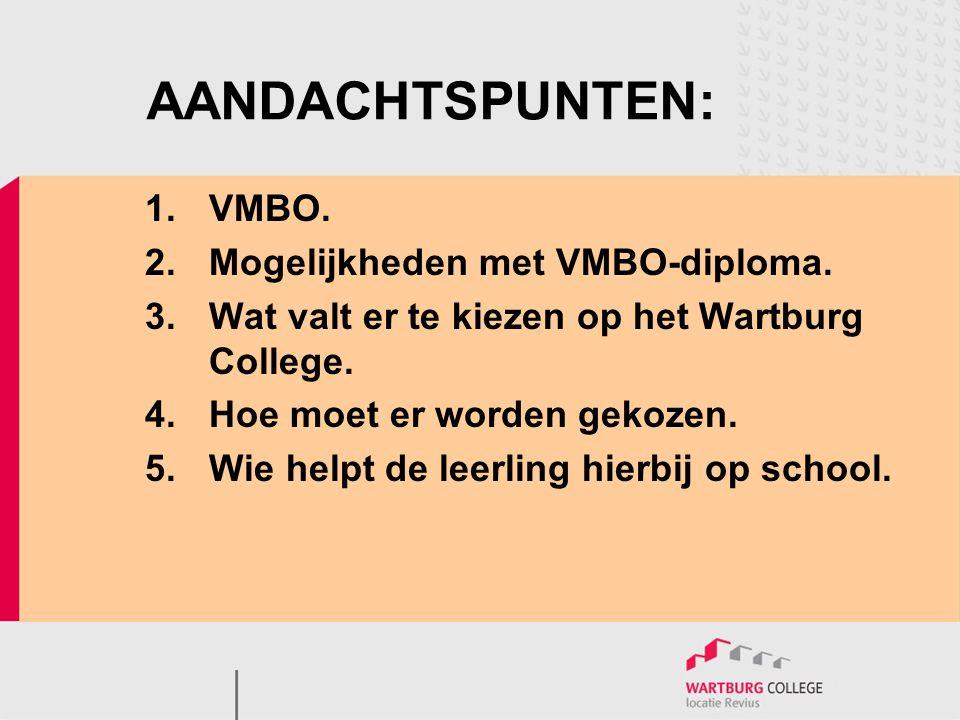 AANDACHTSPUNTEN: 1.VMBO. 2.Mogelijkheden met VMBO-diploma. 3.Wat valt er te kiezen op het Wartburg College. 4.Hoe moet er worden gekozen. 5.Wie helpt