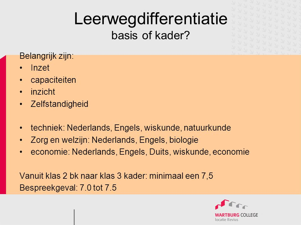 Leerwegdifferentiatie basis of kader.