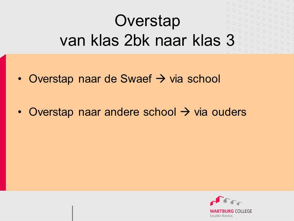 Overstap van klas 2bk naar klas 3 •Overstap naar de Swaef  via school •Overstap naar andere school  via ouders