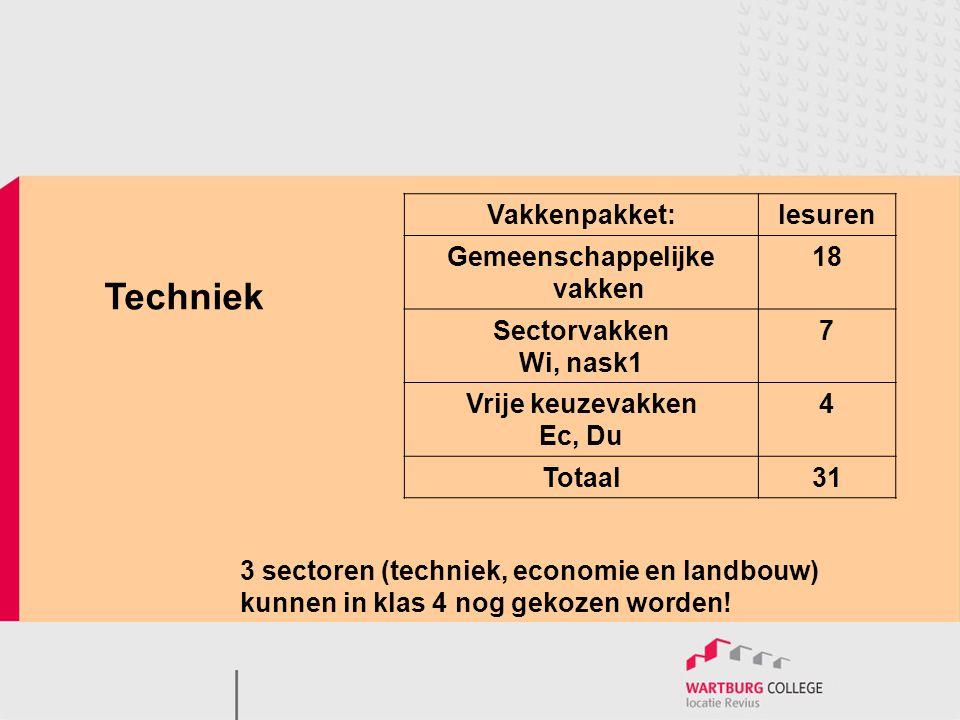 Techniek 3 sectoren (techniek, economie en landbouw) kunnen in klas 4 nog gekozen worden! Vakkenpakket:lesuren Gemeenschappelijke vakken 18 Sectorvakk