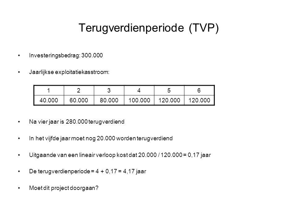 Terugverdienperiode (TVP) •Investeringsbedrag: 300.000 •Jaarlijkse exploitatiekasstroom: •Na vier jaar is 280.000 terugverdiend •In het vijfde jaar mo