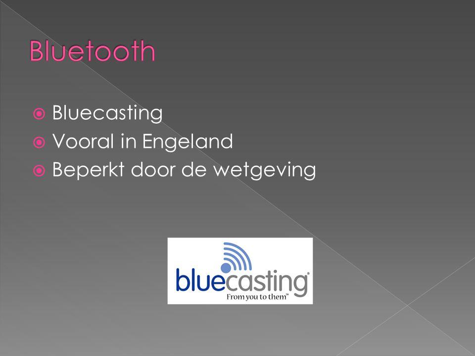  Bluecasting  Vooral in Engeland  Beperkt door de wetgeving