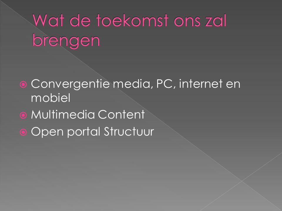  Convergentie media, PC, internet en mobiel  Multimedia Content  Open portal Structuur