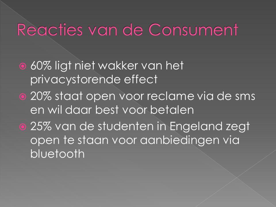 60% ligt niet wakker van het privacystorende effect  20% staat open voor reclame via de sms en wil daar best voor betalen  25% van de studenten in Engeland zegt open te staan voor aanbiedingen via bluetooth