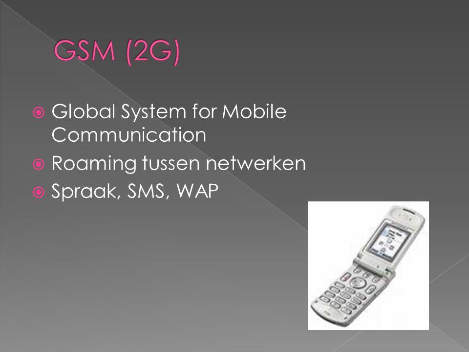  Global System for Mobile Communication  Roaming tussen netwerken  Spraak, SMS, WAP