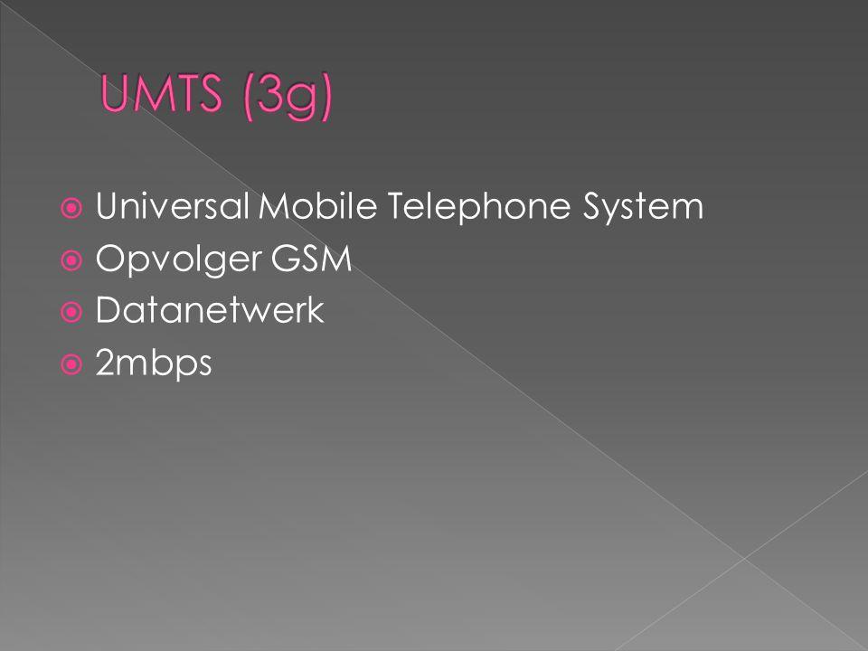  Universal Mobile Telephone System  Opvolger GSM  Datanetwerk  2mbps