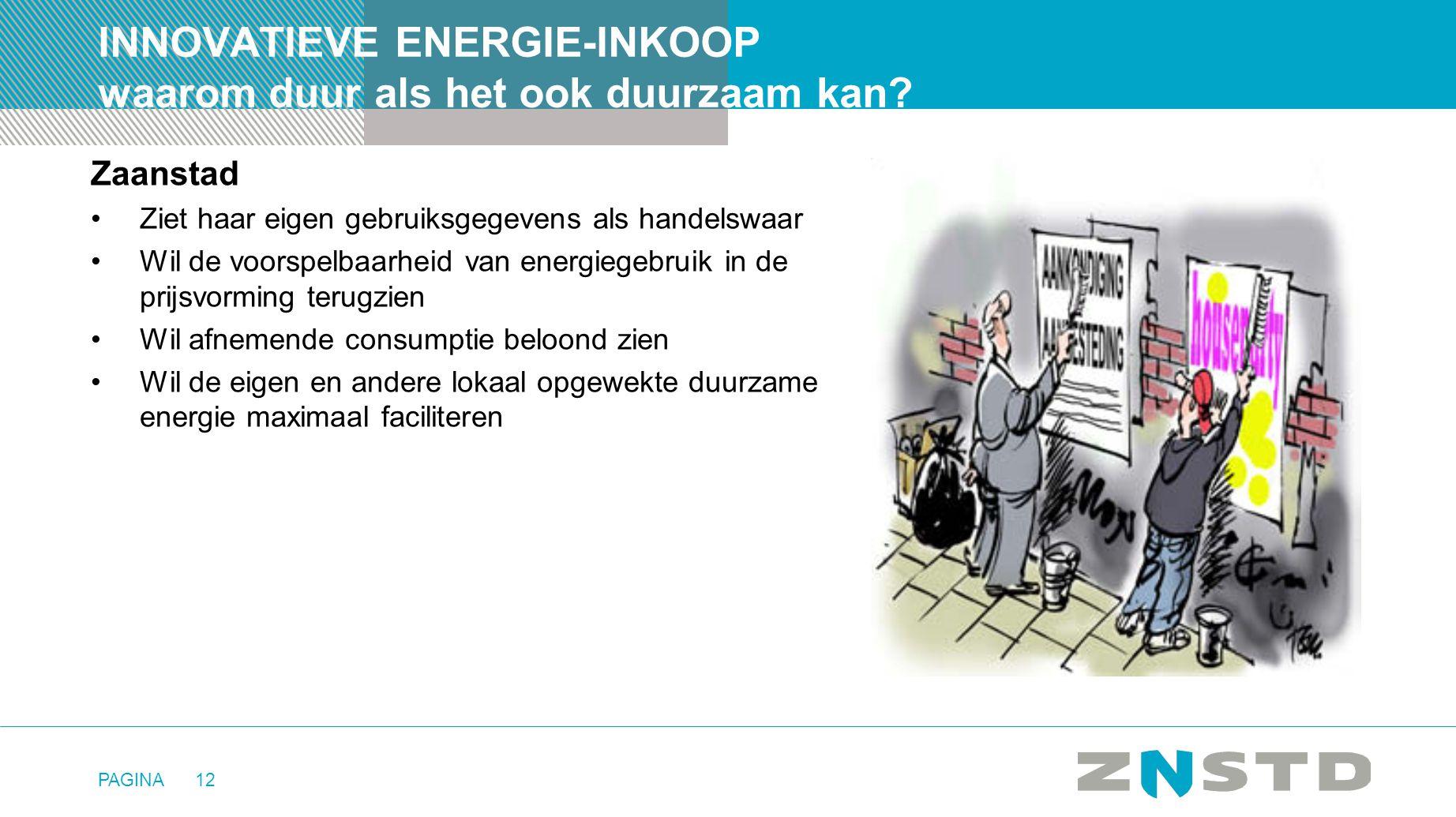 PAGINA12 INNOVATIEVE ENERGIE-INKOOP waarom duur als het ook duurzaam kan? Zaanstad •Ziet haar eigen gebruiksgegevens als handelswaar •Wil de voorspelb