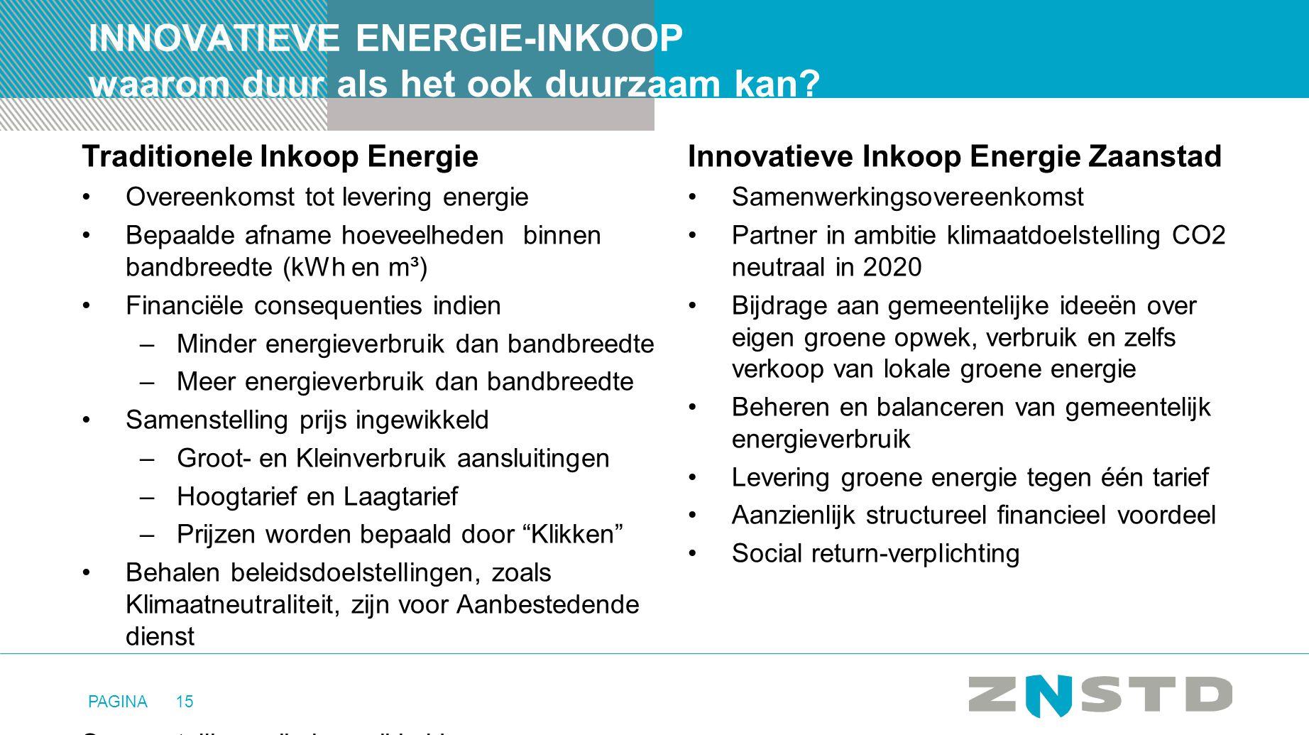 PAGINA15 INNOVATIEVE ENERGIE-INKOOP waarom duur als het ook duurzaam kan? Innovatieve Inkoop Energie Zaanstad •Samenwerkingsovereenkomst •Partner in a