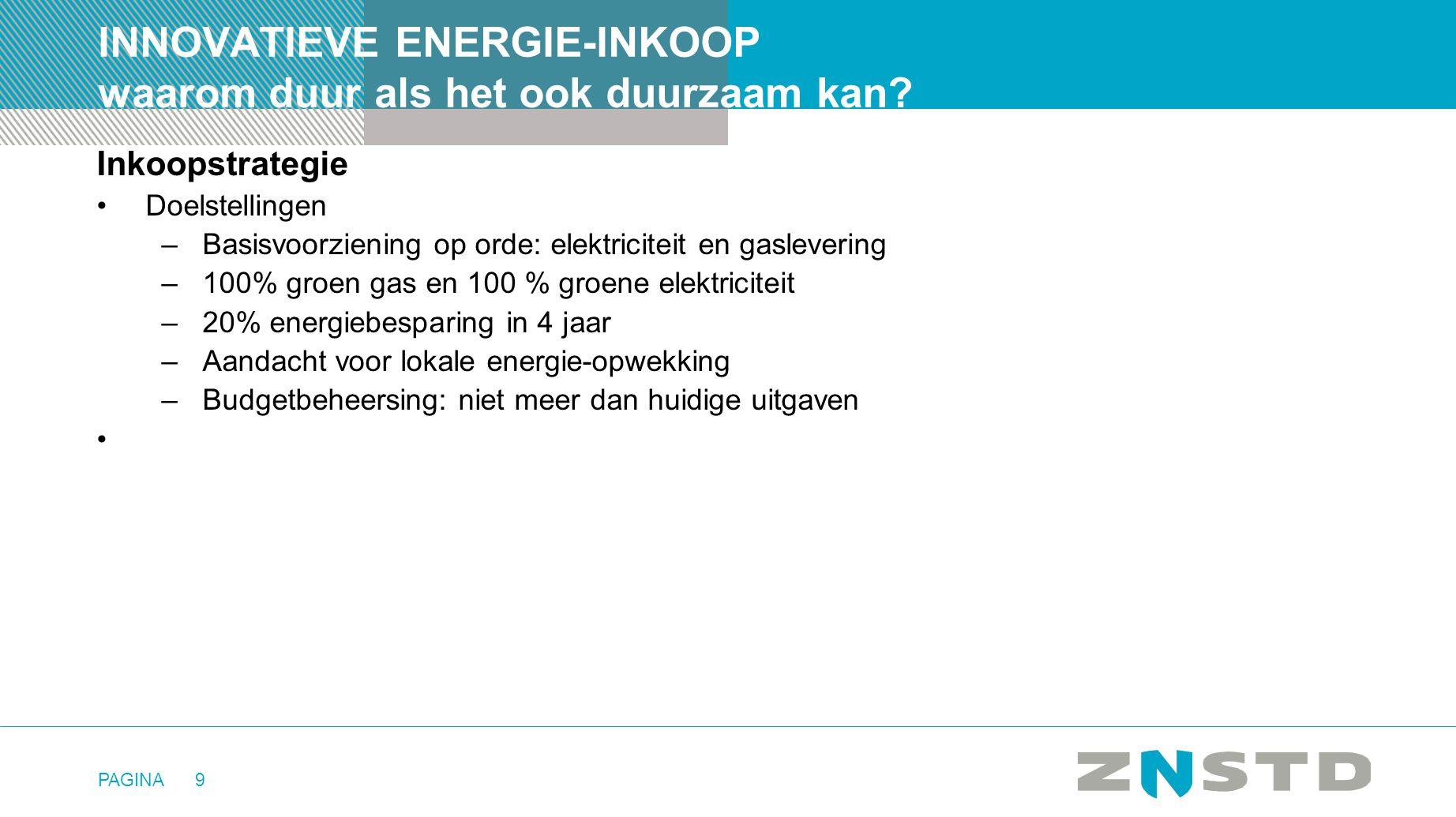 PAGINA9 INNOVATIEVE ENERGIE-INKOOP waarom duur als het ook duurzaam kan? Inkoopstrategie •Doelstellingen –Basisvoorziening op orde: elektriciteit en g
