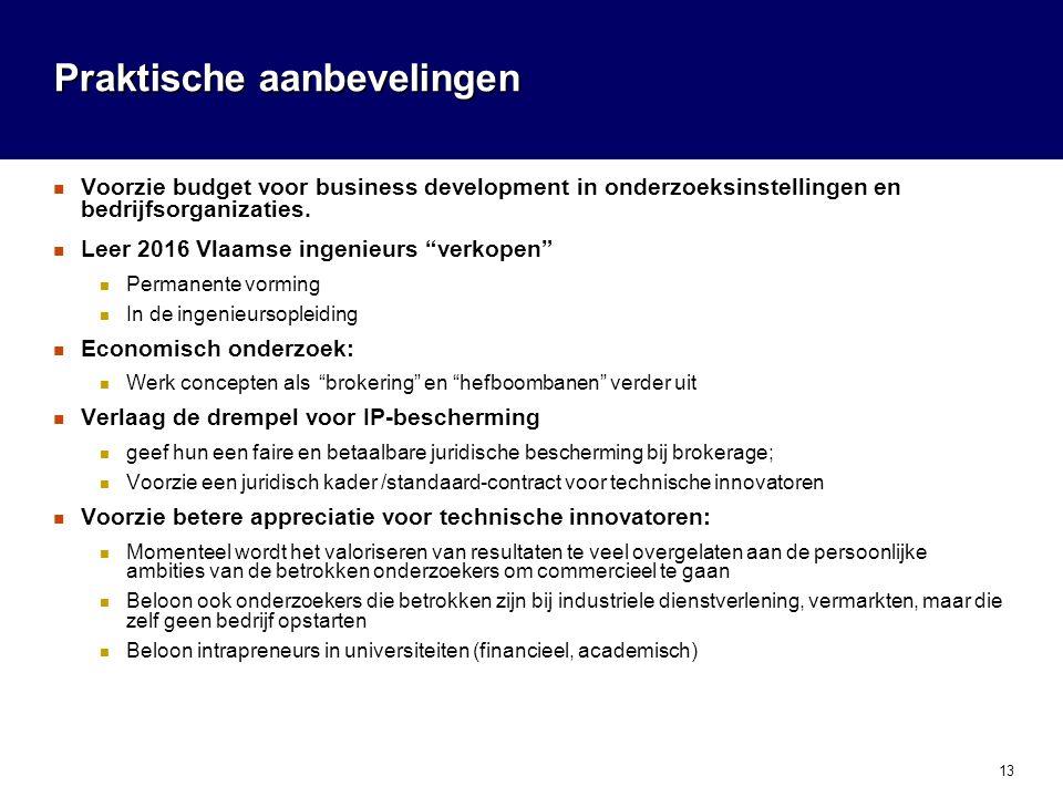 13 Praktische aanbevelingen  Voorzie budget voor business development in onderzoeksinstellingen en bedrijfsorganizaties.