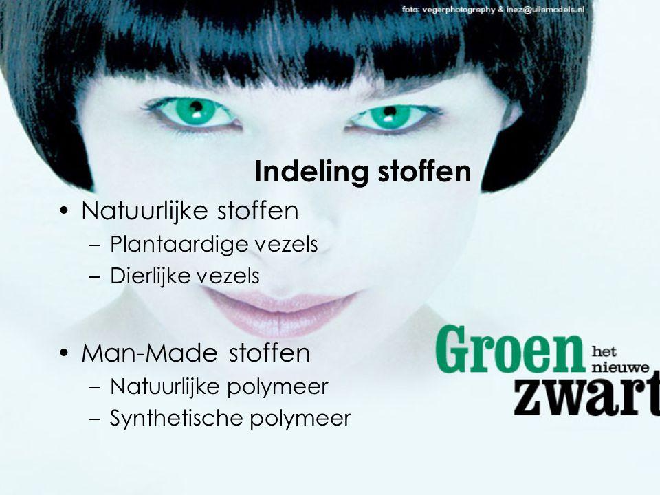 Indeling stoffen •Natuurlijke stoffen –Plantaardige vezels –Dierlijke vezels •Man-Made stoffen –Natuurlijke polymeer –Synthetische polymeer