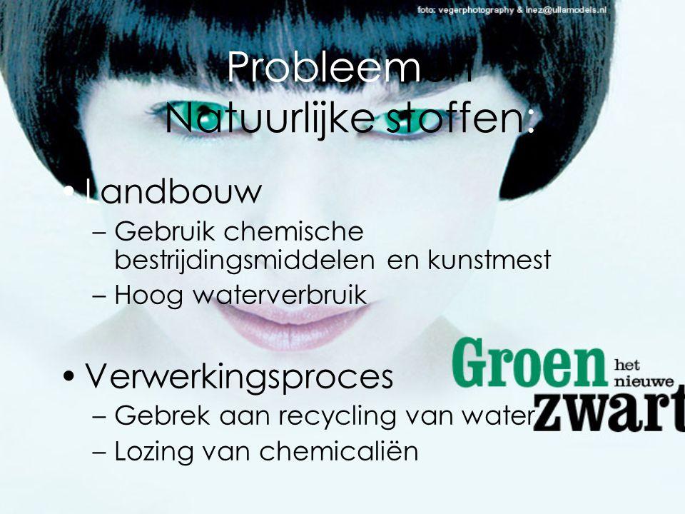 nProbleem Man-Made stoffen: •Grondstof –Olie = fossiele brandstof •Verwerking –Gebruik van chemicaliën –Hoog energie gebruik –Groot water verbruik •Afval eindproduct