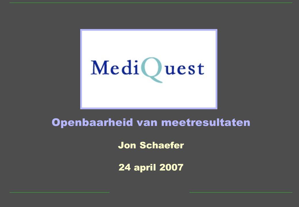 Openbaarheid van meetresultaten Jon Schaefer 24 april 2007