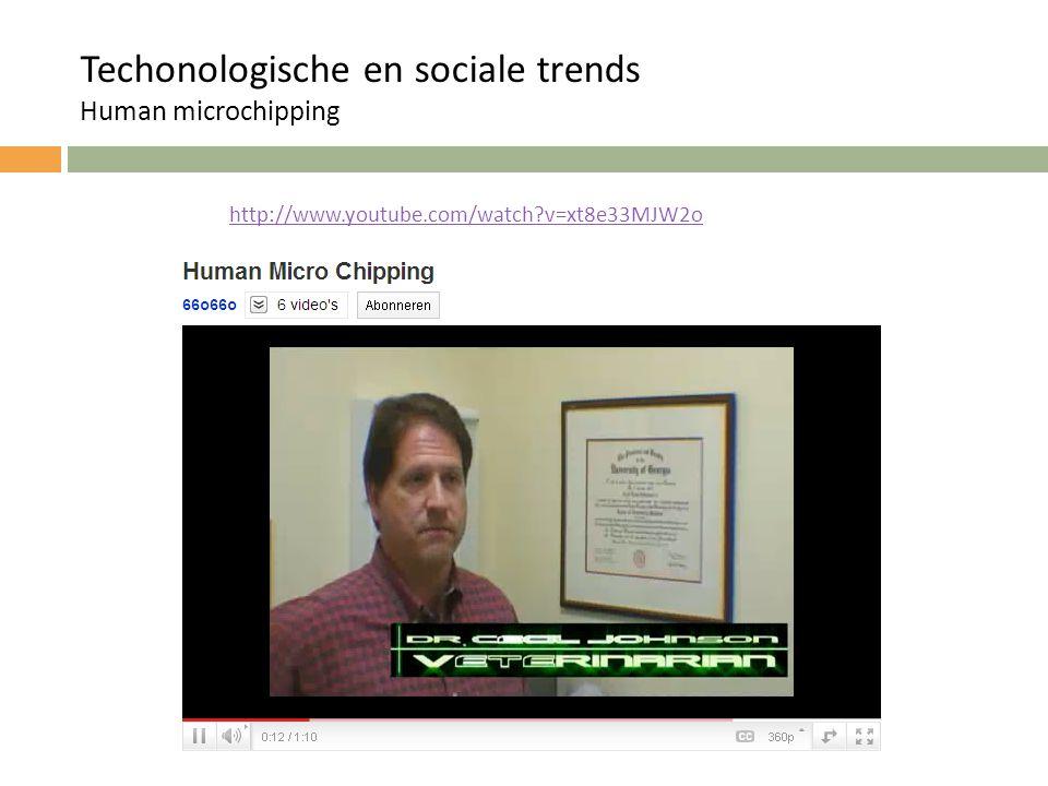 http://www.youtube.com/watch?v=xt8e33MJW2o Techonologische en sociale trends Human microchipping