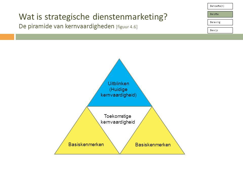 Uitblinken (Huidige kernvaardigheid) Behoefte(n) Belofte Beleving Bewijs Wat is strategische dienstenmarketing.