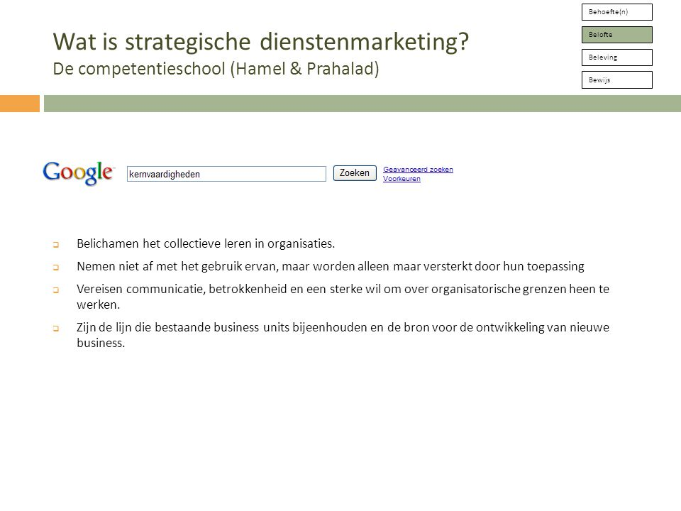 Behoefte(n) Belofte Beleving Bewijs Wat is strategische dienstenmarketing.