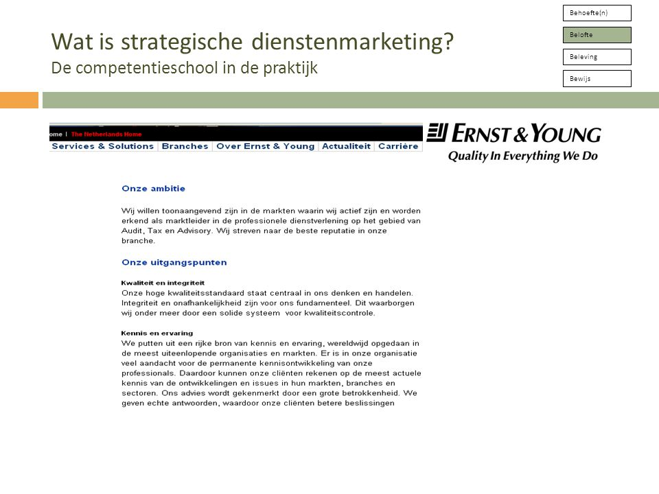 W.de Vries jr/VU Behoefte(n) Belofte Beleving Bewijs Wat is strategische dienstenmarketing.