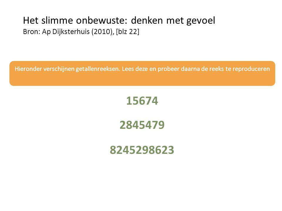 Het slimme onbewuste: denken met gevoel Bron: Ap Dijksterhuis (2010), [blz 22] Hieronder verschijnen getallenreeksen.