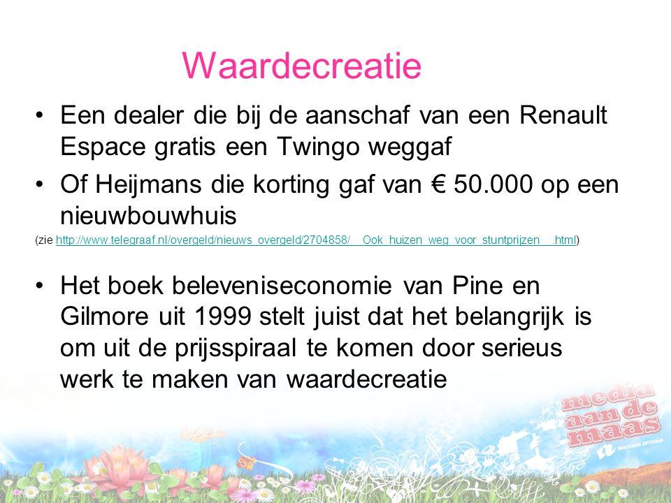 Waardecreatie •Een dealer die bij de aanschaf van een Renault Espace gratis een Twingo weggaf •Of Heijmans die korting gaf van € 50.000 op een nieuwbouwhuis (zie http://www.telegraaf.nl/overgeld/nieuws_overgeld/2704858/__Ook_huizen_weg_voor_stuntprijzen__.html)http://www.telegraaf.nl/overgeld/nieuws_overgeld/2704858/__Ook_huizen_weg_voor_stuntprijzen__.html •Het boek beleveniseconomie van Pine en Gilmore uit 1999 stelt juist dat het belangrijk is om uit de prijsspiraal te komen door serieus werk te maken van waardecreatie