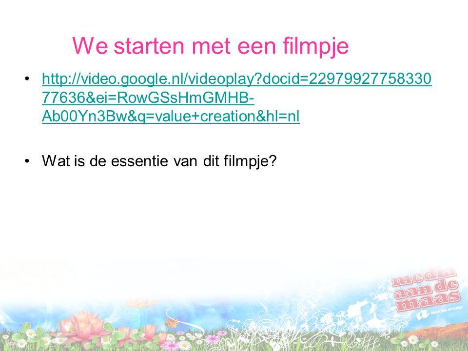 We starten met een filmpje •http://video.google.nl/videoplay?docid=22979927758330 77636&ei=RowGSsHmGMHB- Ab00Yn3Bw&q=value+creation&hl=nlhttp://video.google.nl/videoplay?docid=22979927758330 77636&ei=RowGSsHmGMHB- Ab00Yn3Bw&q=value+creation&hl=nl •Wat is de essentie van dit filmpje?