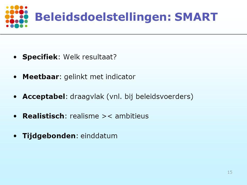 15 Beleidsdoelstellingen: SMART •Specifiek: Welk resultaat? •Meetbaar: gelinkt met indicator •Acceptabel: draagvlak (vnl. bij beleidsvoerders) •Realis
