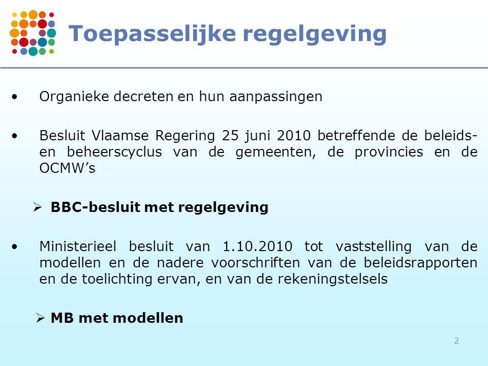 2 Toepasselijke regelgeving •Organieke decreten en hun aanpassingen •Besluit Vlaamse Regering 25 juni 2010 betreffende de beleids- en beheerscyclus van de gemeenten, de provincies en de OCMW's  BBC-besluit met regelgeving •Ministerieel besluit van 1.10.2010 tot vaststelling van de modellen en de nadere voorschriften van de beleidsrapporten en de toelichting ervan, en van de rekeningstelsels  MB met modellen