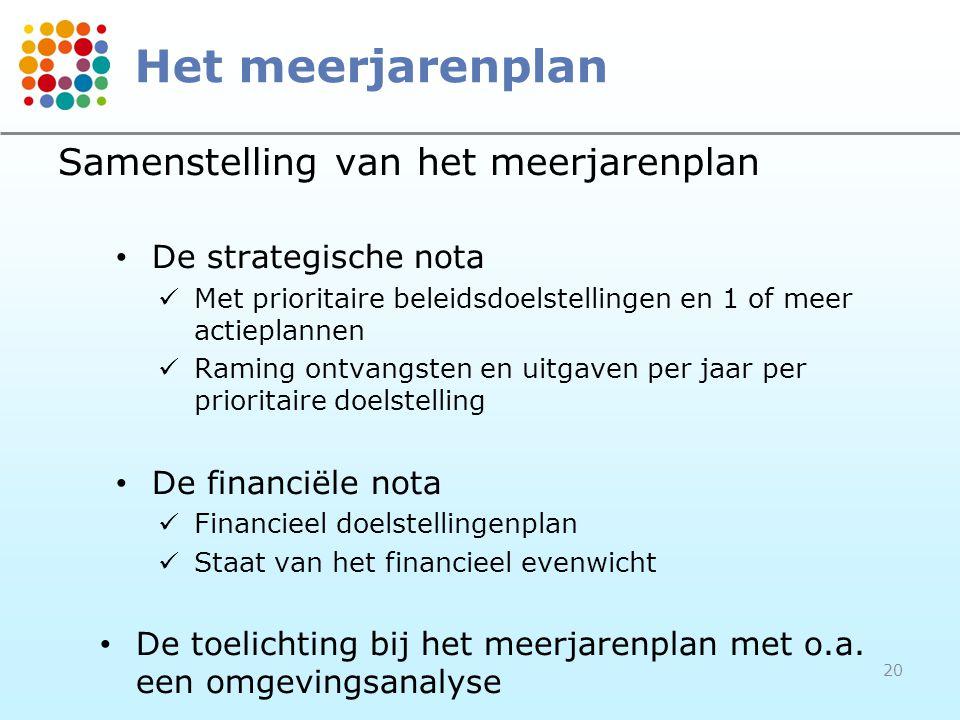 20 Het meerjarenplan Samenstelling van het meerjarenplan • De strategische nota  Met prioritaire beleidsdoelstellingen en 1 of meer actieplannen  Raming ontvangsten en uitgaven per jaar per prioritaire doelstelling • De financiële nota  Financieel doelstellingenplan  Staat van het financieel evenwicht • De toelichting bij het meerjarenplan met o.a.