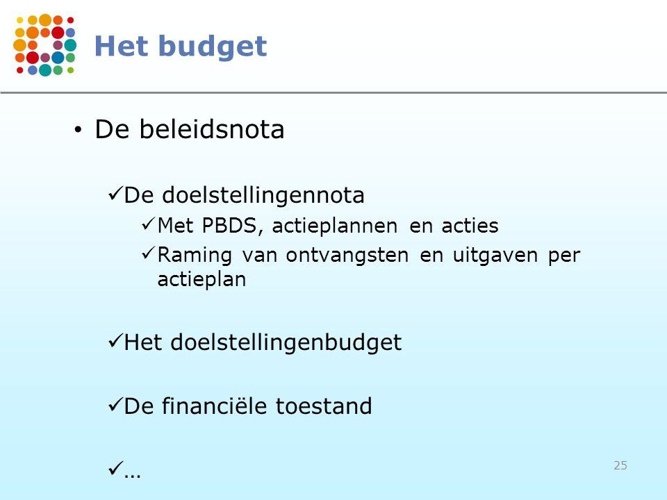25 Het budget • De beleidsnota  De doelstellingennota  Met PBDS, actieplannen en acties  Raming van ontvangsten en uitgaven per actieplan  Het doelstellingenbudget  De financiële toestand  …