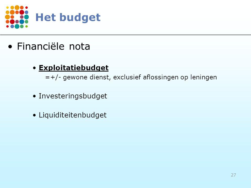 27 •Financiële nota •Exploitatiebudget =+/- gewone dienst, exclusief aflossingen op leningen •Investeringsbudget •Liquiditeitenbudget Het budget