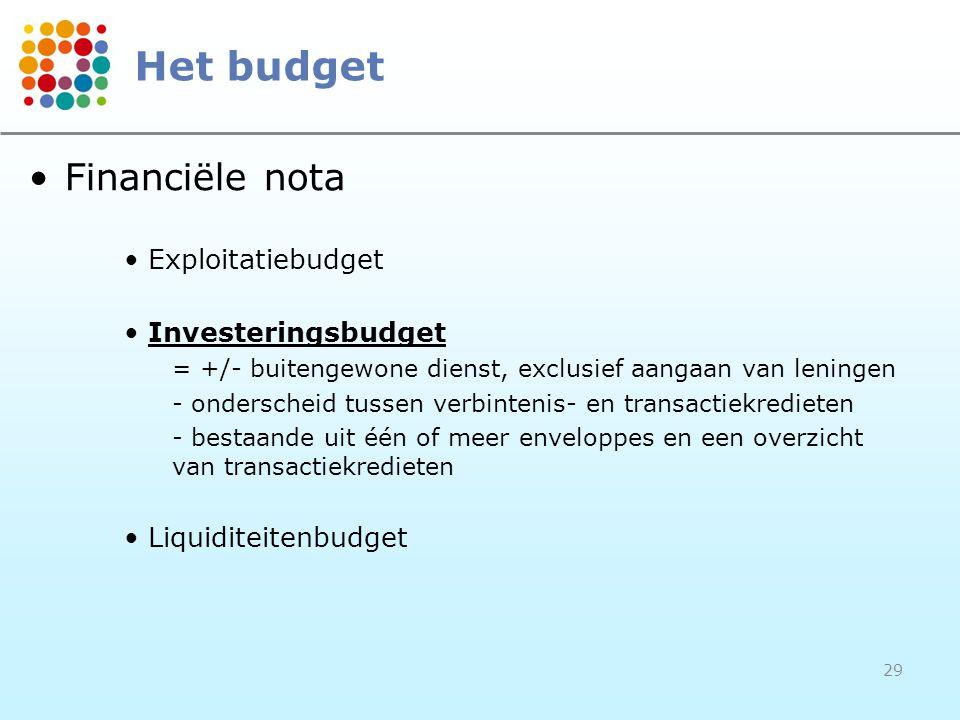 29 •Financiële nota •Exploitatiebudget •Investeringsbudget = +/- buitengewone dienst, exclusief aangaan van leningen - onderscheid tussen verbintenis- en transactiekredieten - bestaande uit één of meer enveloppes en een overzicht van transactiekredieten •Liquiditeitenbudget Het budget