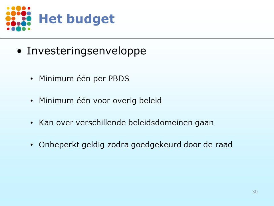•Investeringsenveloppe • Minimum één per PBDS • Minimum één voor overig beleid • Kan over verschillende beleidsdomeinen gaan • Onbeperkt geldig zodra