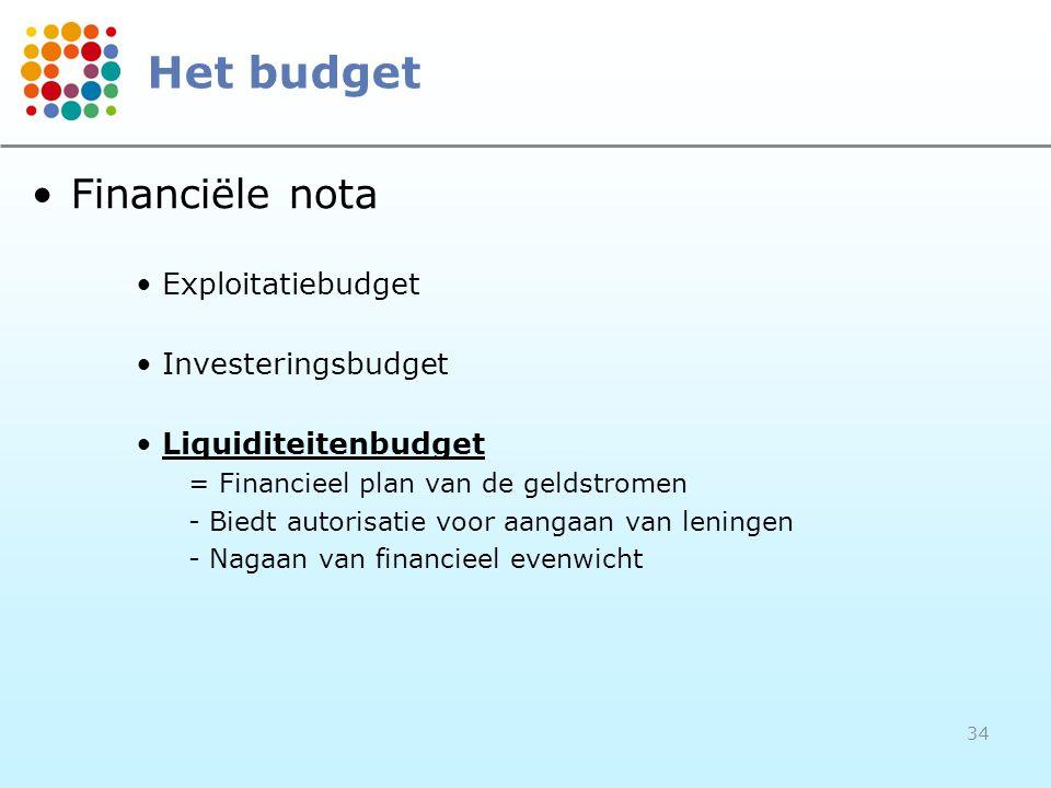34 •Financiële nota •Exploitatiebudget •Investeringsbudget •Liquiditeitenbudget = Financieel plan van de geldstromen - Biedt autorisatie voor aangaan van leningen - Nagaan van financieel evenwicht Het budget