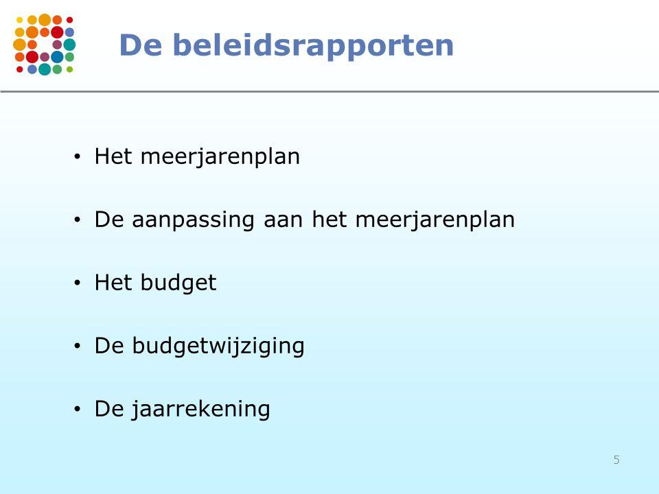 5 De beleidsrapporten • Het meerjarenplan • De aanpassing aan het meerjarenplan • Het budget • De budgetwijziging • De jaarrekening