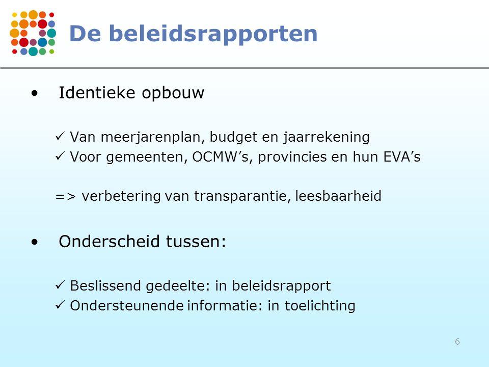 6 De beleidsrapporten •Identieke opbouw  Van meerjarenplan, budget en jaarrekening  Voor gemeenten, OCMW's, provincies en hun EVA's => verbetering v