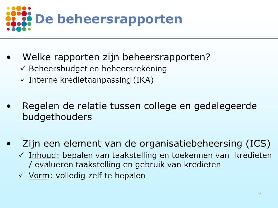 7 De beheersrapporten •Welke rapporten zijn beheersrapporten?  Beheersbudget en beheersrekening  Interne kredietaanpassing (IKA) •Regelen de relatie