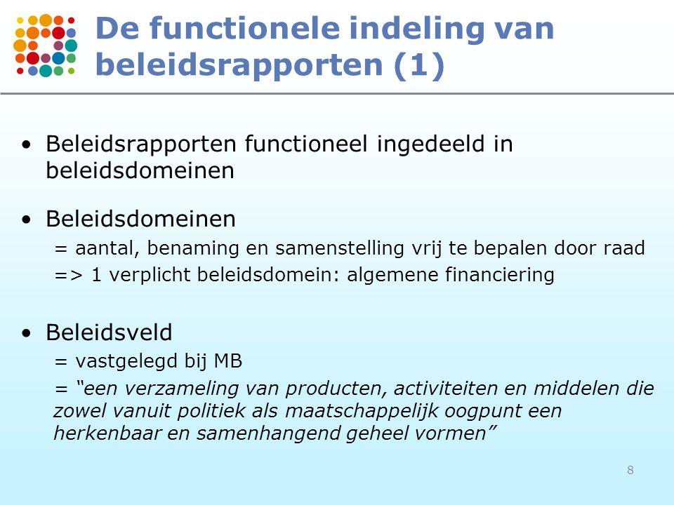 8 De functionele indeling van beleidsrapporten (1) •Beleidsrapporten functioneel ingedeeld in beleidsdomeinen •Beleidsdomeinen = aantal, benaming en s