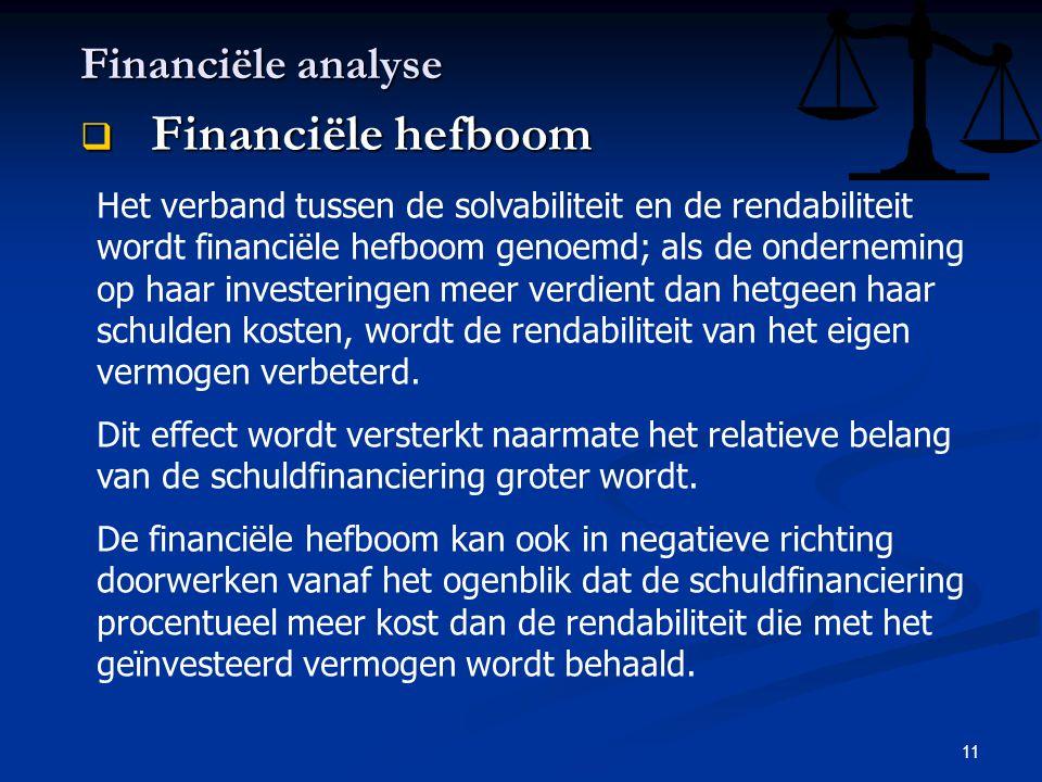 11 Financiële analyse  Financiële hefboom Het verband tussen de solvabiliteit en de rendabiliteit wordt financiële hefboom genoemd; als de ondernemin