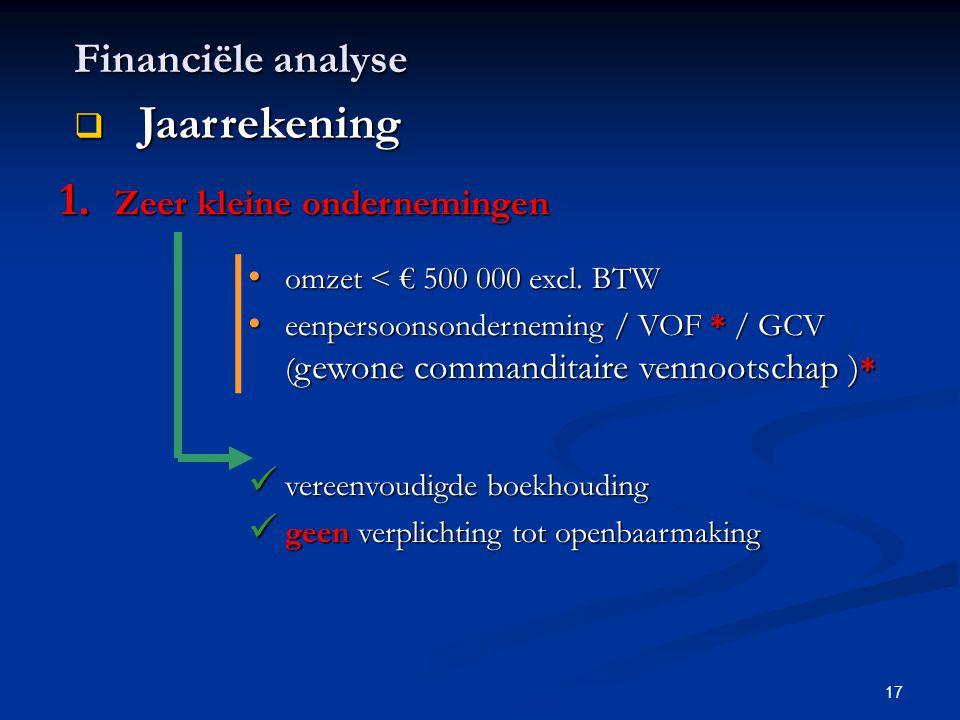 17 Financiële analyse  Jaarrekening 1. Zeer kleine ondernemingen • omzet < € 500 000 excl. BTW • eenpersoonsonderneming / VOF * / GCV ( gewone comman