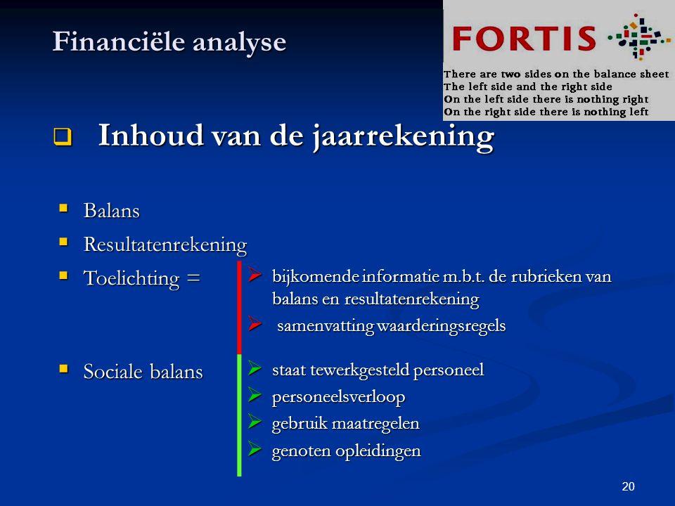 20 Financiële analyse  Inhoud van de jaarrekening  Balans  Resultatenrekening  Toelichting =  bijkomende informatie m.b.t. de rubrieken van balan