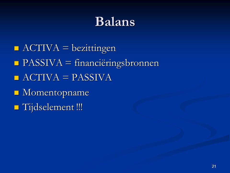 21 Balans  ACTIVA = bezittingen  PASSIVA = financiëringsbronnen  ACTIVA = PASSIVA  Momentopname  Tijdselement !!!