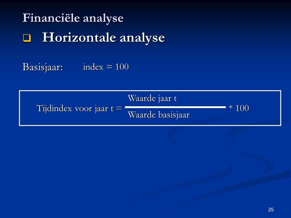 25 Financiële analyse  Horizontale analyse Basisjaar: index = 100 Tijdindex voor jaar t = Waarde jaar t * 100 Waarde basisjaar