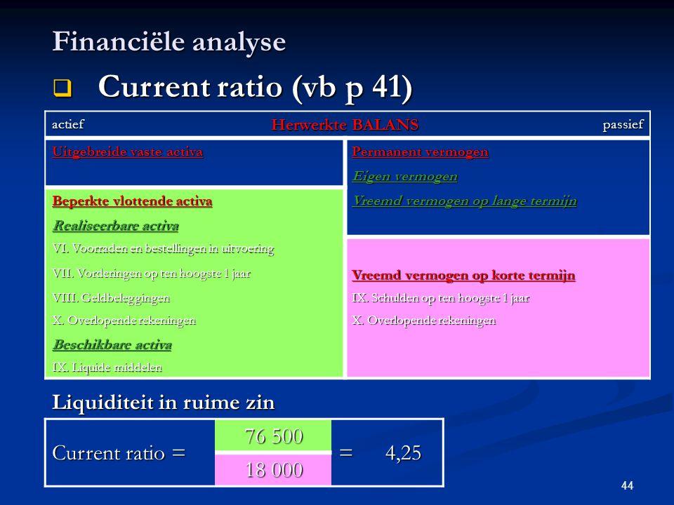 44 Financiële analyse  Current ratio (vb p 41) actief Herwerkte BALANS passief Uitgebreide vaste activa Permanent vermogen Eigen vermogen Beperkte vl