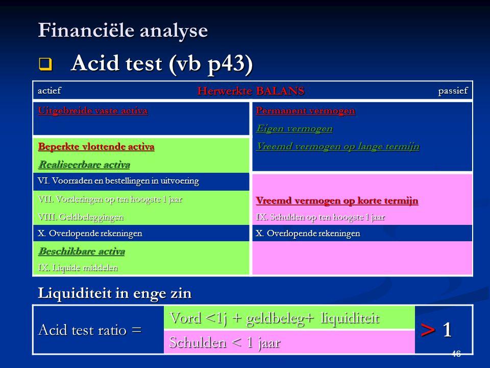 46 Financiële analyse  Acid test (vb p43) actief Herwerkte BALANS passief Uitgebreide vaste activa Permanent vermogen Eigen vermogen Beperkte vlotten