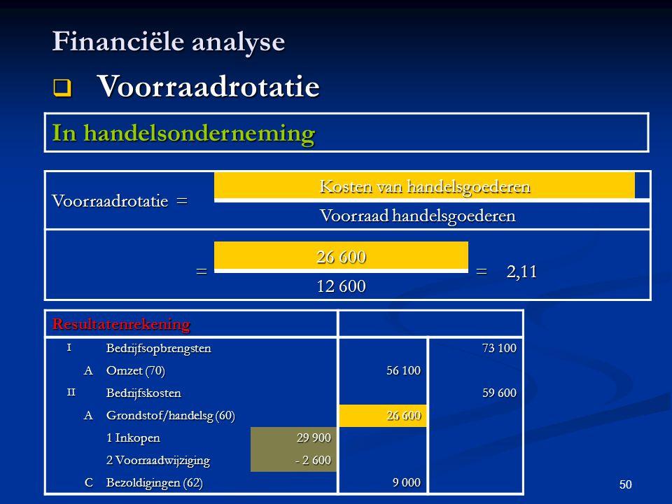50 Financiële analyse  Voorraadrotatie In handelsonderneming Voorraadrotatie = Kosten van handelsgoederen Voorraad handelsgoederen = 26 600 =2,11 12